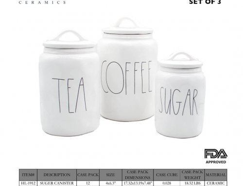Ceramica Plain White Canister with Screen Skill Printing